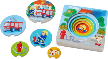 Haba 3D Wooden Jigsaw Puzzle Fire! Fire! -  * Little fire brigade fans will instantly fall in love with Haba's extraordinary 3D wooden jigsaw puzzle.