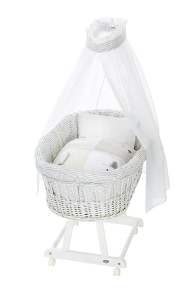 Alvi Bassinet Birthe with XL lying surface, 6 Pieces – Faces - El Birthe stubenwagen by Alvi cuenta con una zona muy amplia.