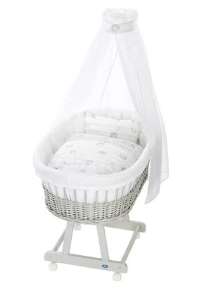 Alvi Bassinet Birthe with XL lying surface, 6 Pieces – Spiny Friends -  * The ultimate eye-catcher in every room – the bassinet Birthe by Alvi now comes with an extra-large lying surface. The extra-spacious, hand-woven wicker basket provides your baby with a safe and secure sleeping place right from the first day.