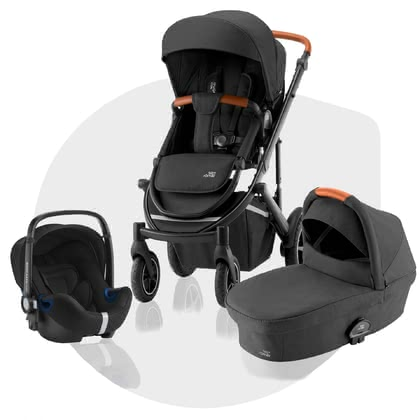 Britax Römer детская коляска SMILE III – набор 3 в 1 Comfort Bundle Space Black, Brown Handle 2021 - большое изображение