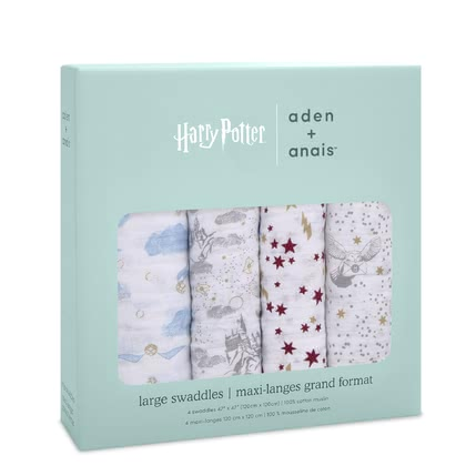 aden+anais Harry Potter iconic collection Mantas envolturas, 4 piezas - Encanta a tu bebé con el mundo mágico de Harry Potte. La icónica colección de estampados harry potte es imprescindible para cualquier fan.