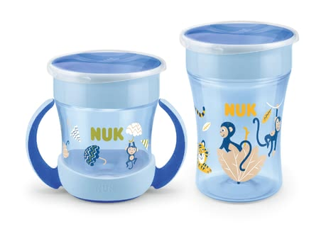 NUK EVOLUTION Magic Cup Set Duo - Beber desde todos los lados a través del borde de la bebida de 360o, 1x NUK Magic Cup 230ml, 1x NUK Mini Magic Cup 160ml con asas ergonómicas, Con tapa p...