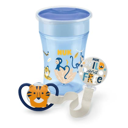 NUK EVOLUTION Ensemble Magic Cup & Sucette Space acev porte-sucette - 1x NUK Magic Cup, contient 230ml liquide, avec bouchon protecteur, bord de boisson à 360 degrés, 1x Sucette de l'espace NUK, ouvertures extra larges, per...
