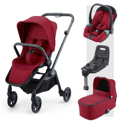 Recaro Sadena 3-in-1 Travel-System inkl. ISOFIX-Basis Select Garnet Red 2021 - Großbild