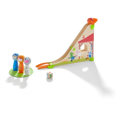 HABA Kullerbü – Ball Track Skittle Farm -  * The Kullerbü ball track Skittle Farm does not only offer young and old builders a varied activity, but also trains their motor skills in a playful way,