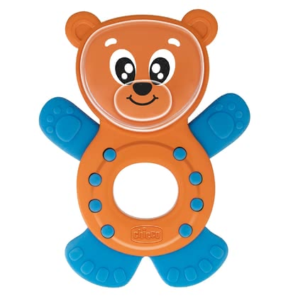 "Chicco Teething Ring & Rattle ""Ben the Bear"" - Recommandation d'âge 3-18 mois, Combinaison de plastique solide et de plastique souple, Maintien simple, Bruits de hochet en secouant, Dimensions : 10 x ..."